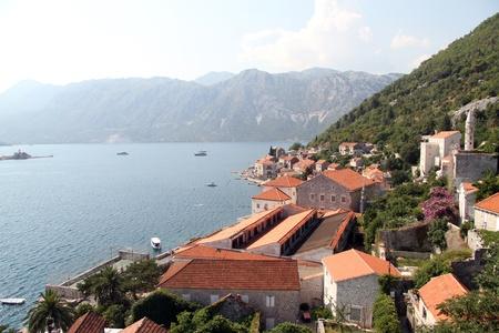 Roofs of Perast and bay Boka Kotorska, Montenegro Stock Photo - 14988505
