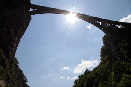 tara: Long arc bridge in canyon Tara, Montenegro Stock Photo