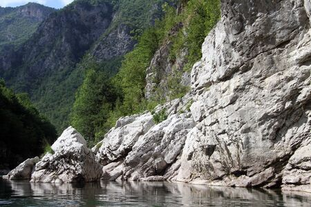 tara: Gray rocks and river in canyon Tara, Montenegro Stock Photo