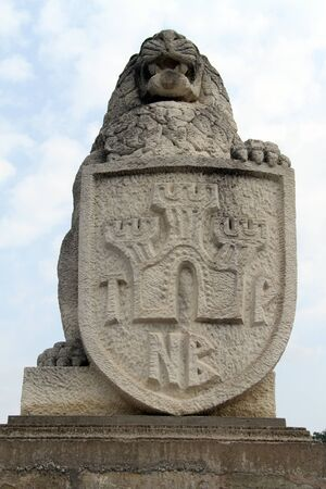 Stone lion near entrance of fortress Tsarevets in Veliko Tirnovo, Bulgaria