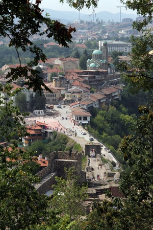 Ruins of fortress and buildings in Veliko Tirnovo, Bulgaria photo
