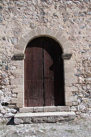 kibris: Door and wall of Antifonidis church in North Cyprus