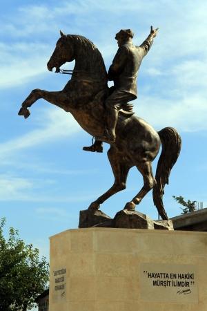 mustafa: Mustafa Kemal Ataturk on the horse in Dipkarpas, North Cyprus Editorial