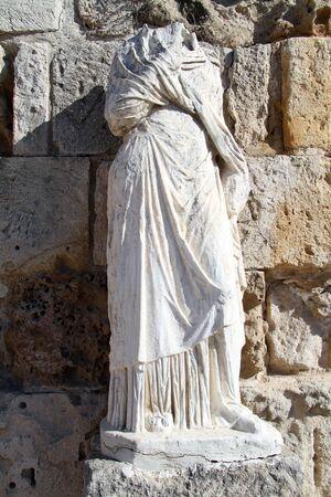 kibris: Headless statue near the wall in Salamis, North Cyprus