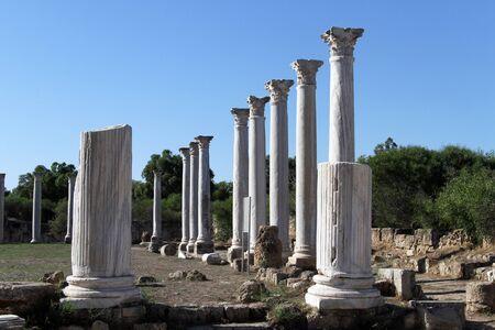 kibris: Columns and ruins in Salamis, North Cyprus Stock Photo
