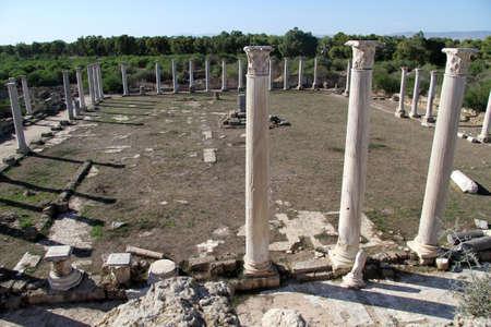 kibris: Columns of temple in Salamis, North Cyprus Stock Photo