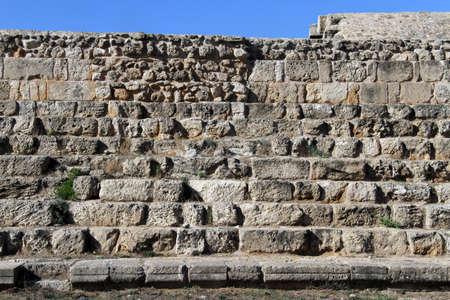 kibris: Stone wall in Salamis, North Cyprus Stock Photo
