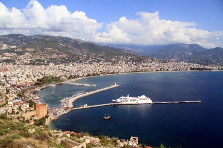 Clouds on the sky and port Alanya, Turkey