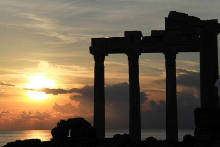 Sunset and ruins of Apollo temple, Turkey photo