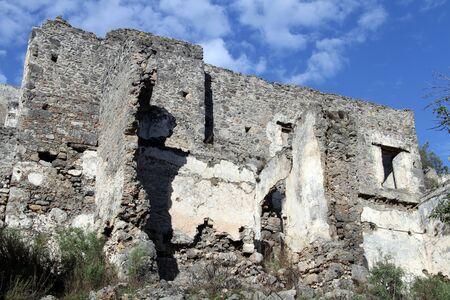 kayakoy: Ruins old house in greek village Kayakoy, Turkey Stock Photo