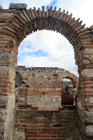 Old brick arches in Saint John basilica in Selcuk, Turkey photo
