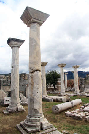 Marble columns in basilica St. John in Selcuk, Turkey  photo