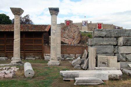 Ruins of basilica St John and rortress in Selcuk, Turkey