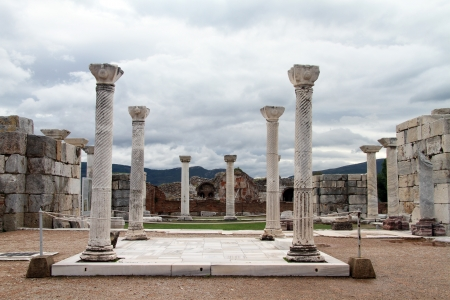 Clouds on the sky and marble columns in basilica St, John in Selcuk, Turkey photo
