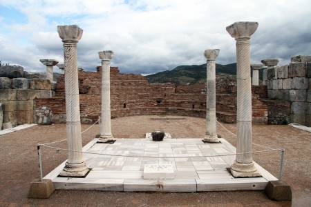 Marble columns and altar in St, John basilica, Selcuk, Turkey photo