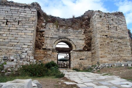 Entrance of great basilica St, John in Ephesus, Turkey photo
