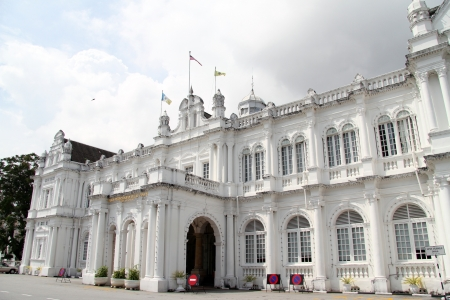 georgetown: Facade of Town Hall in Georgetown, Penang, Malaysia Editorial