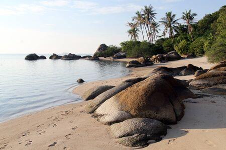 phangan: Rocks on the sand beach in Ko Phangan, Thailand