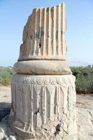 shush: Ancient column in old city Shush, Iran Stock Photo