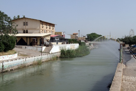 shush: Restaurant and bridge on the river in Shush, Iran