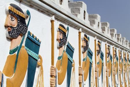 shush: Persian soldiers on the wall in Shush, Iran