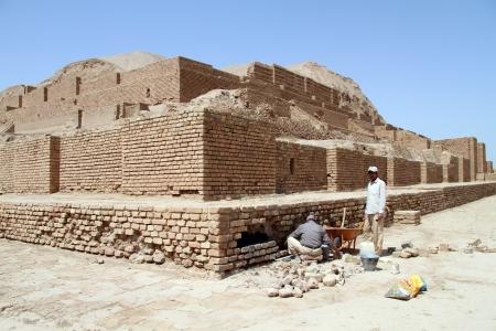 shush: Restoration of brick ziggurat Choqa Zanbil near Shush, Iran