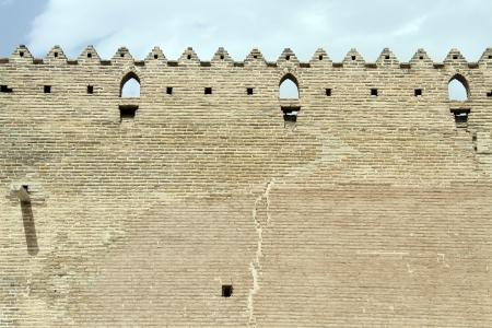 khan: Brick wall of fortress Arg-e Karim Khan in Shiraz, Iran Editorial