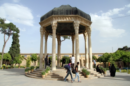 hafez: Tomb of Hafez and people in Shiraz, Iran Editorial