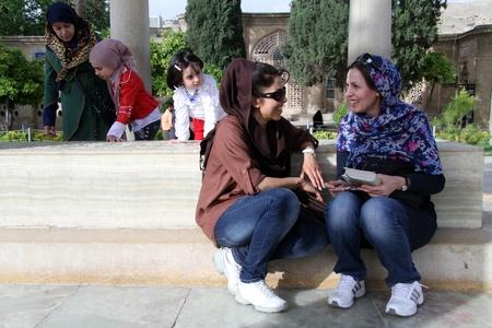 hafez: People on the tomb of poet Hafez in Shiraz, Iran