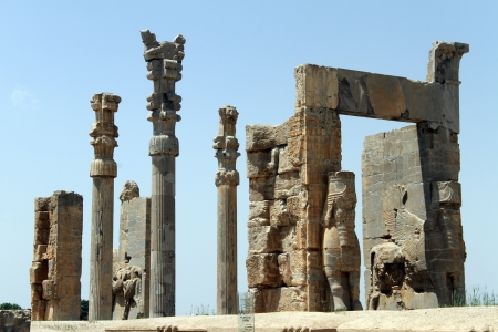 Ruins of big gate in Persepolis, Iran Stock Photo