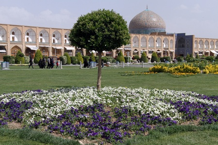 esfahan: Tree and flowers on the Naqsh-e Jahan Square in Esfahan, Iran