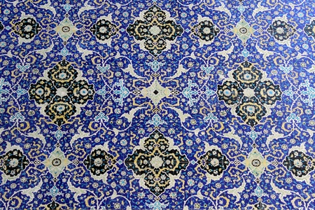 esfahan: Geometric ornate tile on the wall of mosque in Esfahan, Iran
