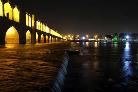 esfahan: Si-O-Seh Pol bridge at night in Esfahan, Iran Stock Photo