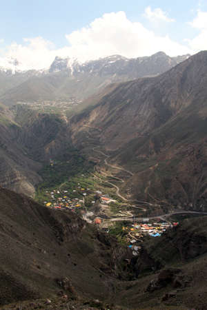 iranian: Gorge with village in iranian mountain, Iran