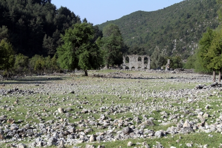 Field and ruins of church Angel Gabriel near Demre in Turkey Stock Photo - 20145201