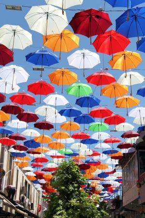 Umbrellas under old street in Antalya, Turkey