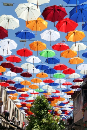Umbrellas under old street in Antalya, Turkey