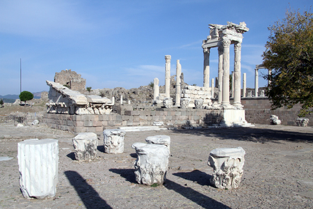 Ruins of Trajan temple in Pergam, Turkey photo