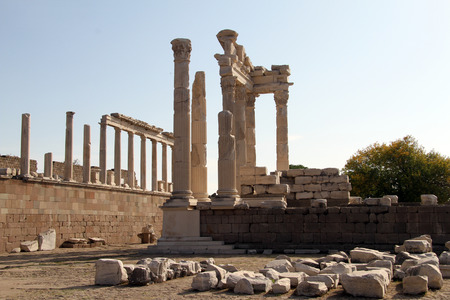 Ruins of ancient Trajan temple in Acropolis of Pergam, Turkey photo