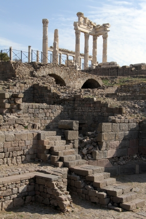 Ruins and Trajan temple in acropolis of Pergama, Turkey photo
