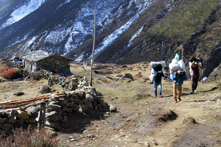 porter house: Porters with heavy bags on the street in Samdo, Nepal
