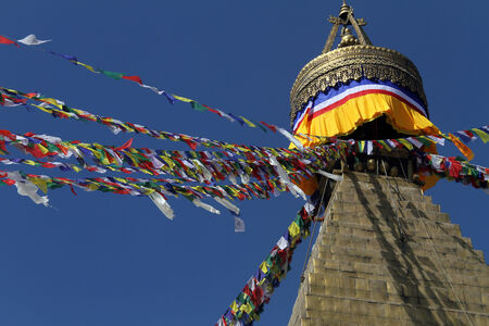 bodnath: Golden top of stupa Bodnath in Kathmandu, Nepal