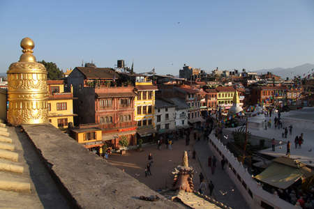 bodnath: Sunset near stupa Bodnath in Kathmandu, Nepal