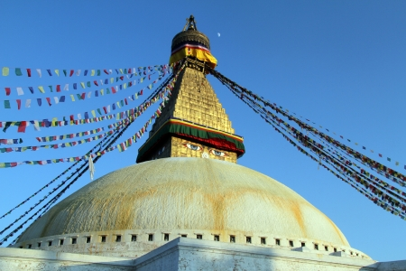 bodnath: Moon and stupa Bodnath in Kathmandu, Nepal