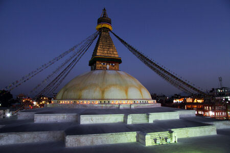 bodnath: Stupa Bodnath and lights at night in Kathmandu, Nepal Stock Photo