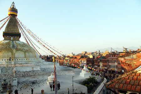 bodnath: Morning and stupa Bodnath in Kathmandu, Nepal Editorial