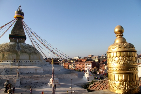 bodnath: Golden stupa near Bodnath in Kathmandu, Nepal Stock Photo