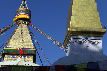 bodnath: Two stupas Bodnath in Kathmandu, Nepal
