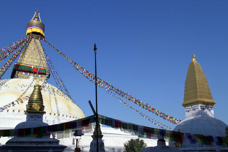 bodnath: Small stupas and Bodnath in Kathmandu, Nepal  Stock Photo
