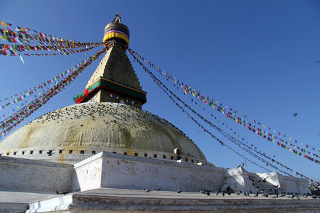 bodnath: Stupa Bodnath in Kathmandu, Nepal Stock Photo